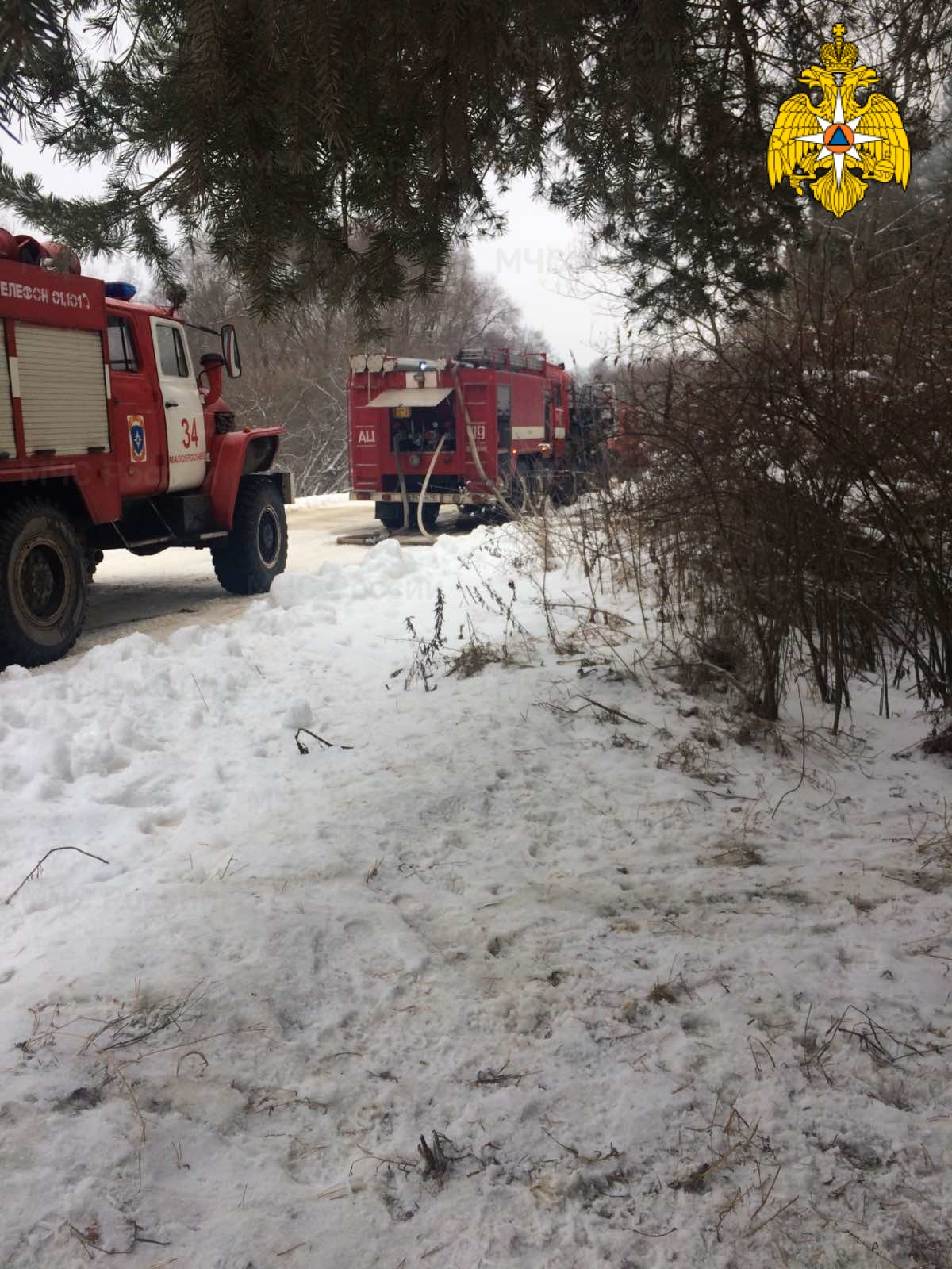 Пожар в Малоярославецком районе, д. Малахово, ул. Звездная