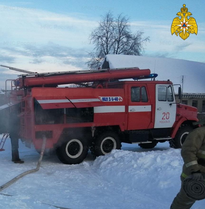 Пожар в  Мосальском районе, с. Ленское, ул. Дачная
