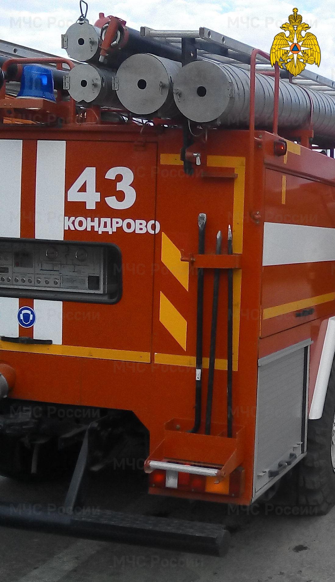 Пожар в Дзержинском районе, г. Кондрово, ул. Красный Октябрь