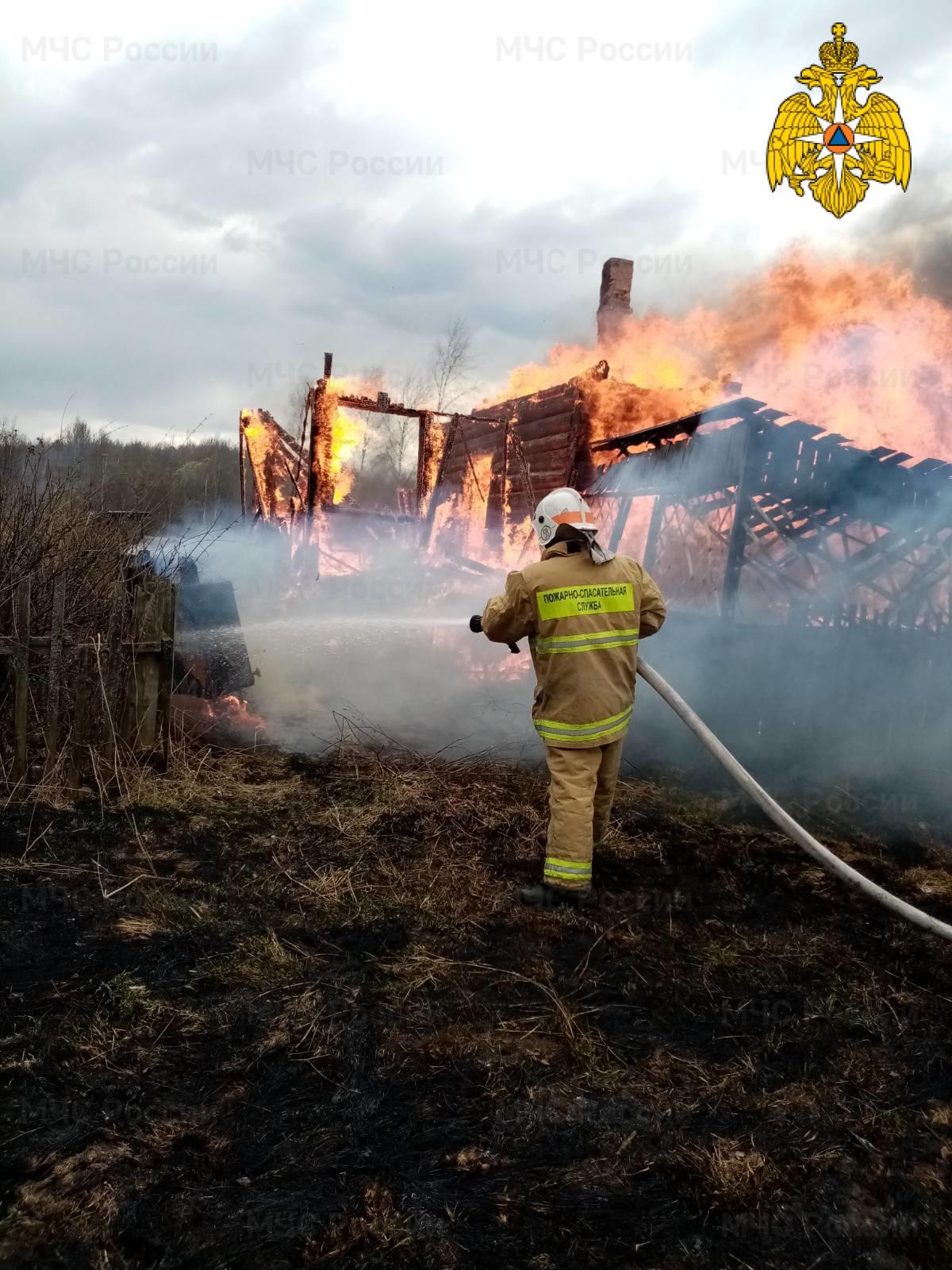Пожар в Сухиничском районе, д. Живодовка