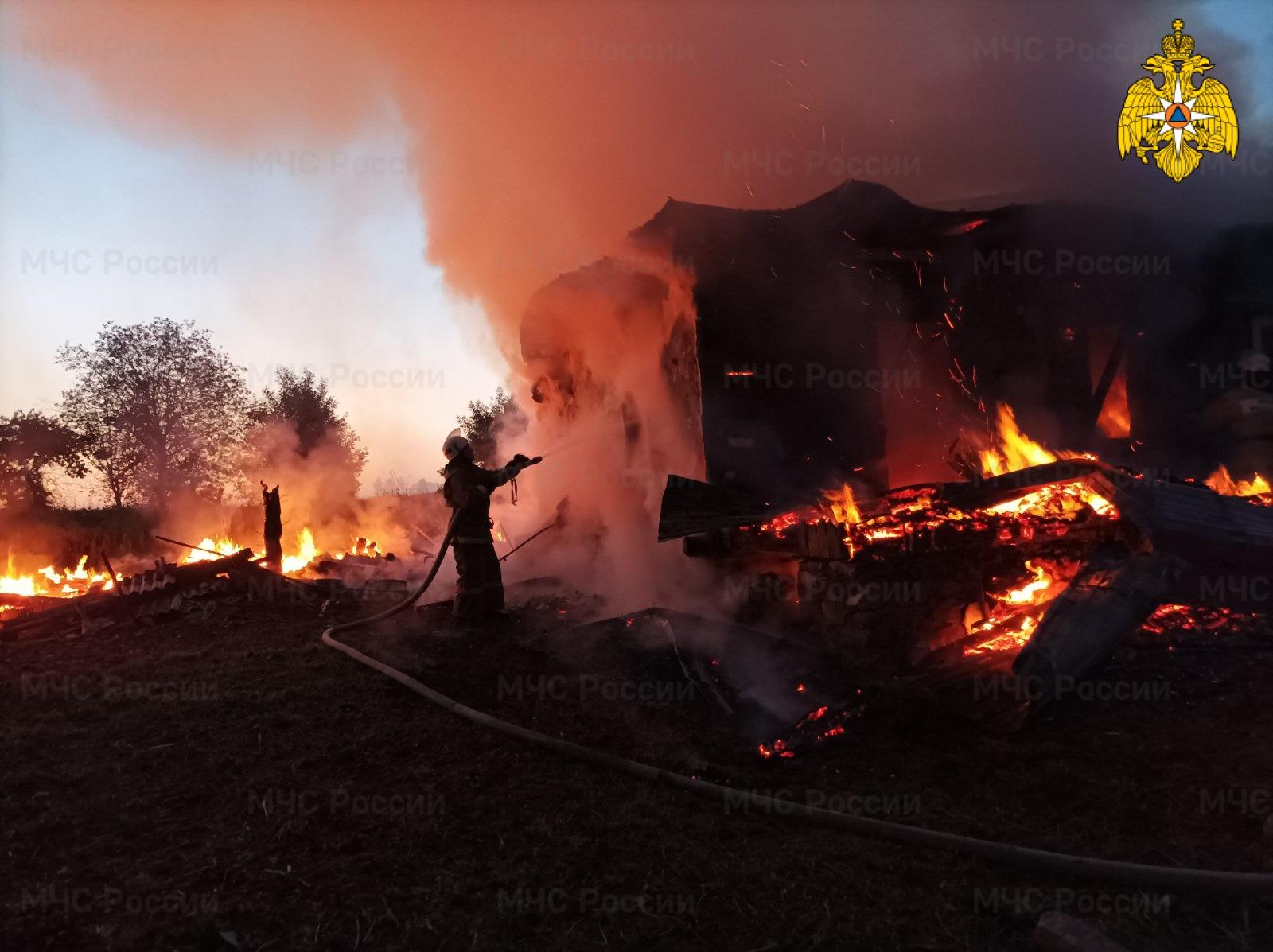 Пожар в Мещовском районе, д. Высокое, ул. Полевая